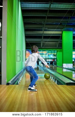 Young Boy, Playing Bowling Indoors