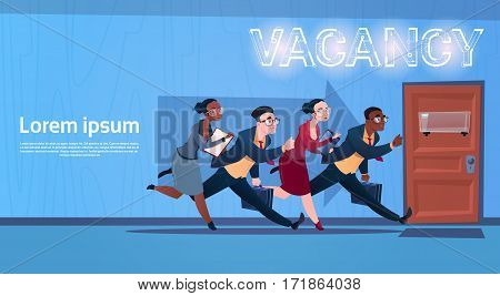 Business People Group Running Vacancy Search Employee Position Human Resources Recruitment Flat Vector Illustration