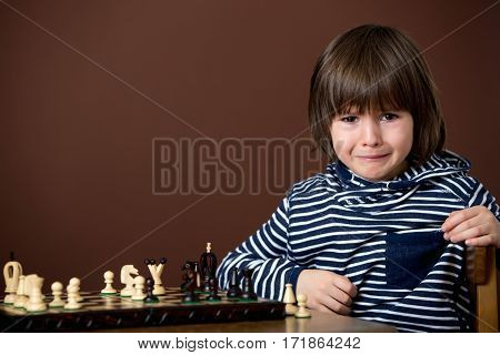 Little Boy, Playing Chess. Smart Kid, Isolated, Playing Chess