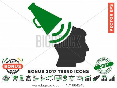 Green And Gray Propaganda Megaphone pictograph with bonus 2017 trend images. Vector illustration style is flat iconic bicolor symbols white background.