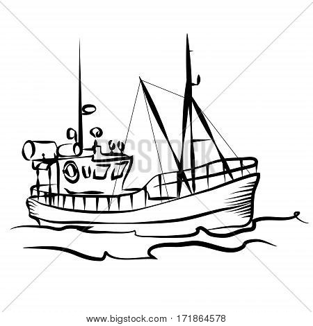 Fishing boat business silhouette graphic vector illustration
