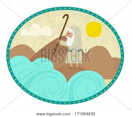 Clip art of Moses splitting the sea. Eps10