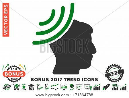 Green And Gray Radio Reception Mind pictograph with bonus 2017 trend pictograph collection. Vector illustration style is flat iconic bicolor symbols white background.
