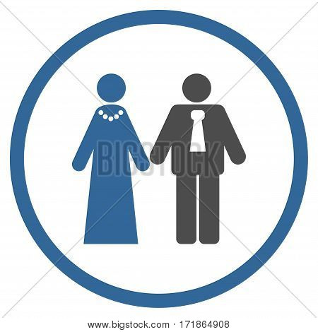 Newlyweds rounded icon. Vector illustration style is flat iconic bicolor symbol inside circle cobalt and gray colors white background.