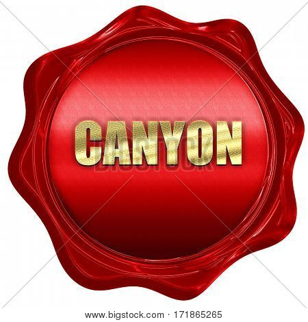 canyon, 3D rendering, red wax stamp with text
