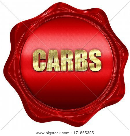 carbs, 3D rendering, red wax stamp with text