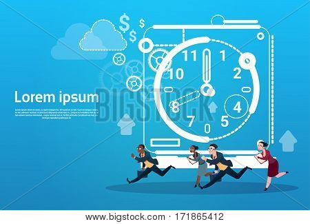 Business People Group Run Clock Businesspeople Time Deadline Concept Flat Vector Illustration