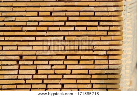stock of wooden board plank on factory yard