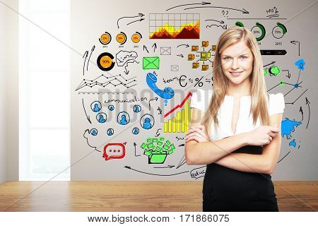 Smiling caucasian woman standing in clean room with colorful business sketch. Communication concept. 3D Rendering
