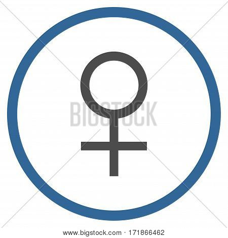 Venus Female Symbol rounded icon. Vector illustration style is flat iconic bicolor symbol inside circle cobalt and gray colors white background.