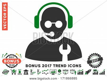 Green And Gray Service Operator pictograph with bonus 2017 trend pictures. Vector illustration style is flat iconic bicolor symbols white background.