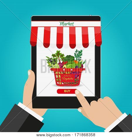Online food shopping, smartphone beside food basket Healthy vegetables and vegetarian food banners. Fresh organic food, healthy eating. Supermarket basket full of fresh products.