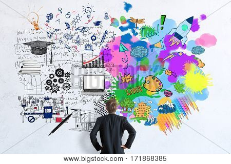 Back view of businessman looking at concrete wall with mathematical formulas and colorful sketch. Creative and analytical thinking concept