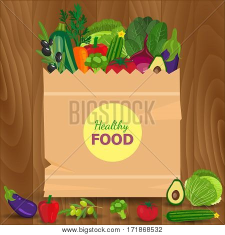 Healthy vegetables and vegetarian food banners. Fresh organic food, healthy eating. Basket with vegetables isolated on wood background. Vector illustration.