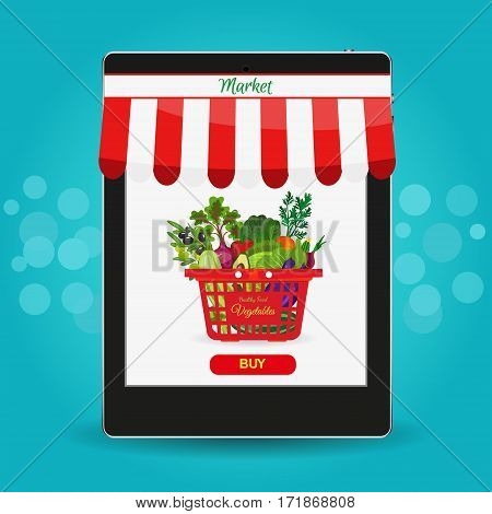 Online food shopping, smartphone. Healthy vegetables and vegetarian food banners. Fresh organic food, healthy eating. Set of fresh products.