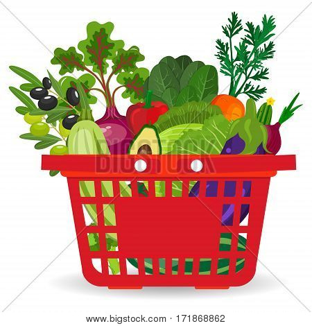 Healthy vegetables and vegetarian food banners. Fresh organic food, healthy eating. Vector set supermarket basket with food. Isolated food items falling in supermarket bag. Flat style