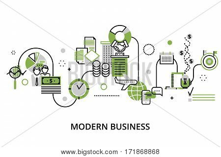 Modern editable line design vector illustration concept of modern business process and finance success in greenery color for graphic and web design