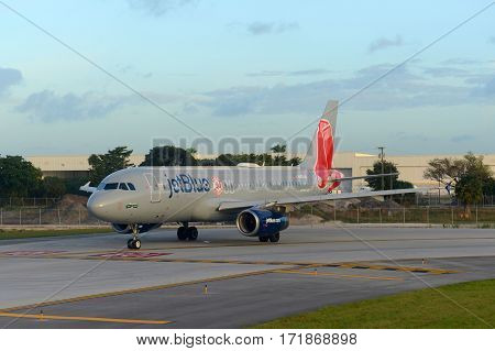 Fort Lauderdale, FL, USA - JAN. 4, 2015: Jetblue Airways Airbus 320-232 with Boston Red Sox baseball team livery at Fort Lauderdale - Hollywood International Airport, Fort Lauderdale, Florida, USA.