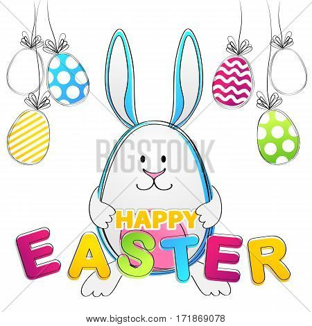 Easter Bunny. Vector Greeting Card with rabbit and egs for your design