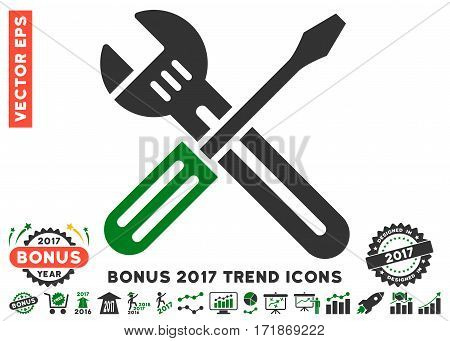 Green And Gray Spanner And Screwdriver pictograph with bonus 2017 year trend elements. Vector illustration style is flat iconic bicolor symbols white background.