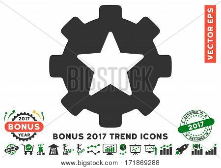Green And Gray Star Favorites Options Gear pictogram with bonus 2017 trend icon set. Vector illustration style is flat iconic bicolor symbols white background.