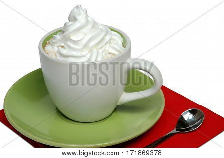 Cappuccino cup of coffee with lot of cream on a green tray and red napkin with spoon