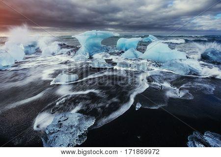 Glacier on black volcanic beach, Beauty world. Iceland