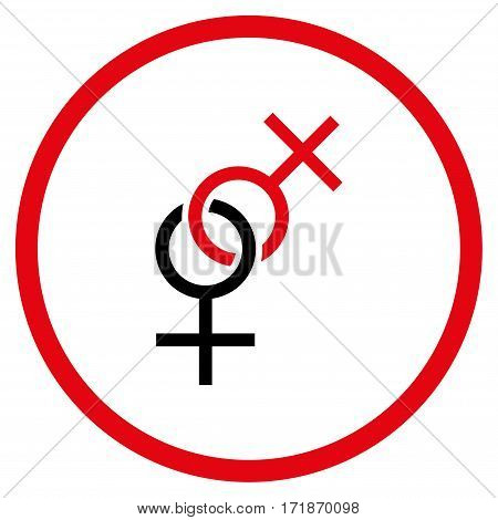Lesbian Love Symbol rounded icon. Vector illustration style is flat iconic bicolor symbol inside circle intensive red and black colors white background.