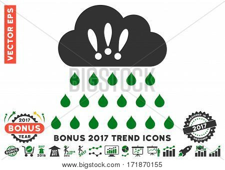 Green And Gray Thunderstorm Rain Cloud pictograph with bonus 2017 year trend images. Vector illustration style is flat iconic bicolor symbols white background.