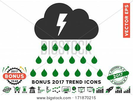 Green And Gray Thunderstorm Rain Cloud icon with bonus 2017 trend design elements. Vector illustration style is flat iconic bicolor symbols white background.
