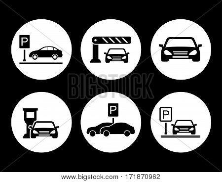 six black isolated parking round icons set