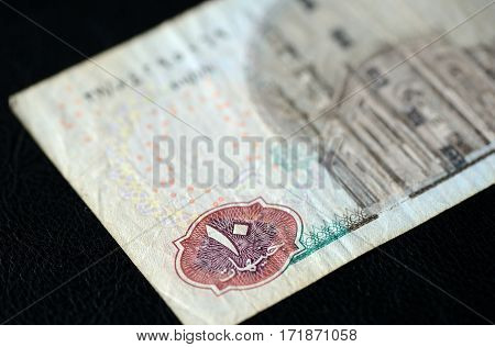 Ten Egyptian Pounds On A Dark Background Closeup