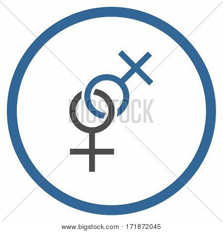 Lesbian Love Symbol rounded icon. Vector illustration style is flat iconic bicolor symbol inside circle cobalt and gray colors white background.