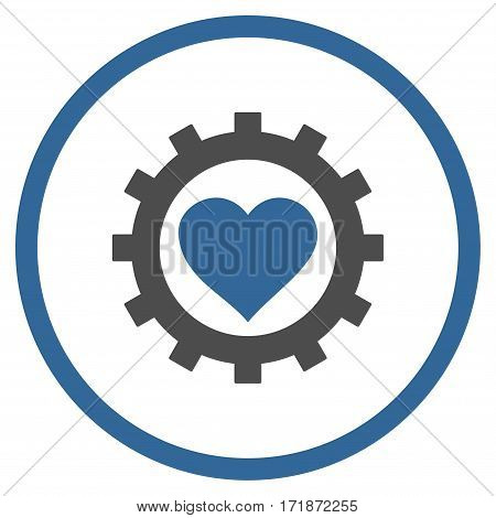 Love Heart Options Gear rounded icon. Vector illustration style is flat iconic bicolor symbol inside circle cobalt and gray colors white background.