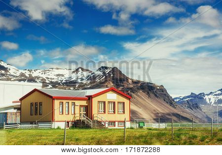 wooden house in the mountains. Beauty world. Iceland