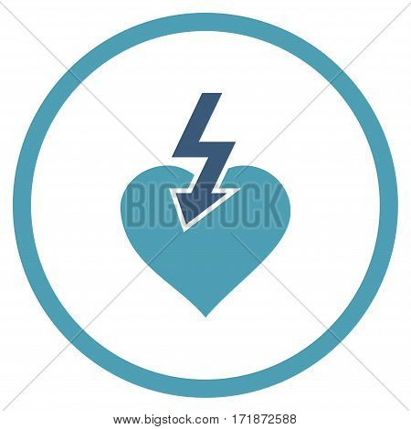 Heart Shock Strike rounded icon. Vector illustration style is flat iconic bicolor symbol inside circle cyan and blue colors white background.