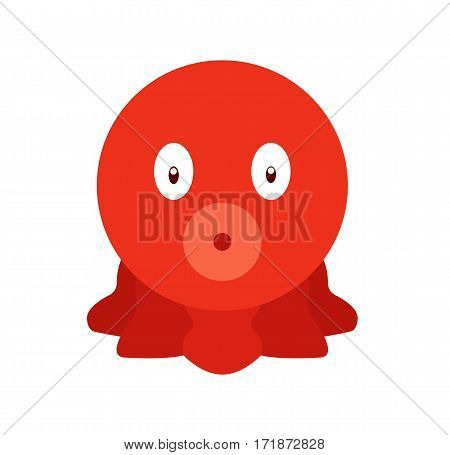 Red octopus cartoon cute fun fish isolated background vector stock
