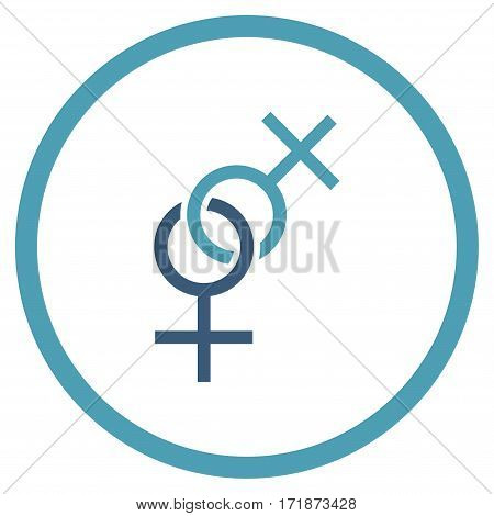 Lesbian Love Symbol rounded icon. Vector illustration style is flat iconic bicolor symbol inside circle cyan and blue colors white background.