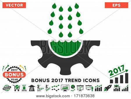 Green And Gray Water Shower Service Gear pictogram with bonus 2017 trend pictures. Vector illustration style is flat iconic bicolor symbols white background.