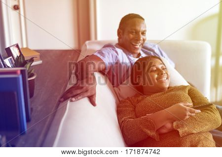 African American Couple Sofa Together
