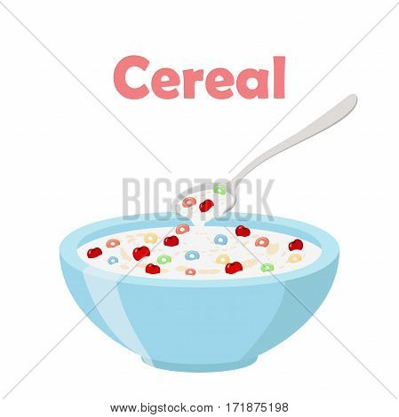 Cereal rings, cherry, spoon and bowl. Oatmeal breakfast with milk, organic muesli. Flat vector style.