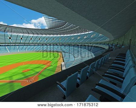 3D Render Of Baseball Stadium With Sky Blue Seats And Vip Boxes