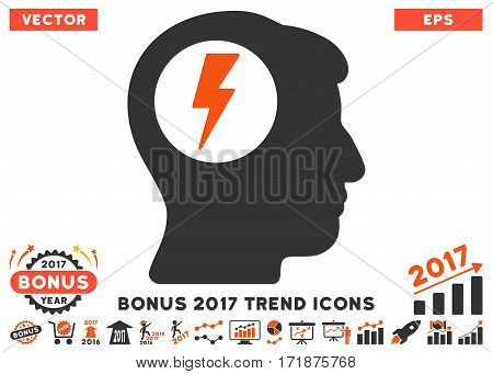 Orange And Gray Brain Electric Shock pictogram with bonus 2017 trend design elements. Vector illustration style is flat iconic bicolor symbols white background.