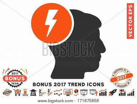Orange And Gray Brain Electricity pictograph with bonus 2017 trend symbols. Vector illustration style is flat iconic bicolor symbols white background.