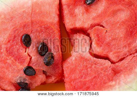 ripe watermelon flesh closeup macro texture background.