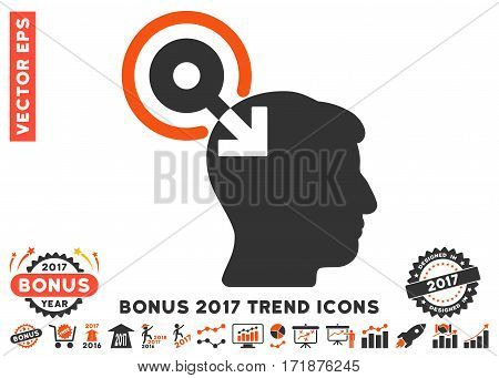 Orange And Gray Brain Interface Plug-In pictogram with bonus 2017 trend images. Vector illustration style is flat iconic bicolor symbols white background.