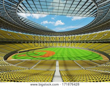 3D Render Of Baseball Stadium With Yellow Seats And Vip Boxes