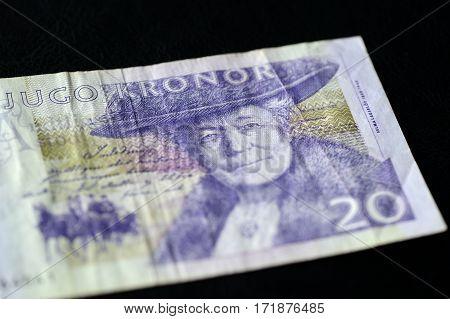 Obsolete Banknote In Twenty Swedish Kronor On A Dark Background