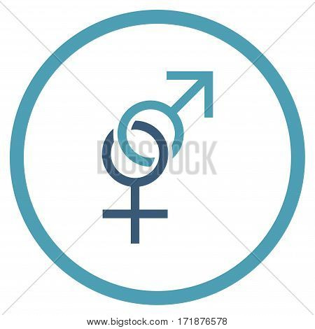 Sex Symbol rounded icon. Vector illustration style is flat iconic bicolor symbol inside circle cyan and blue colors white background.