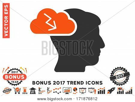 Orange And Gray Brainstorming pictograph with bonus 2017 year trend pictograph collection. Vector illustration style is flat iconic bicolor symbols white background.